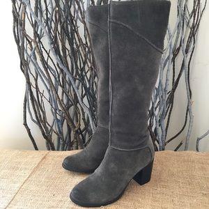 Franco Sarto Yamka Gray Suede Knee High Boots